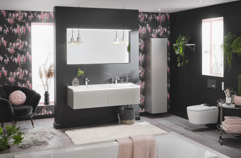 black and pink geberit bathroom pink