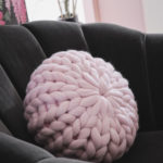 pink chunky knit cushion